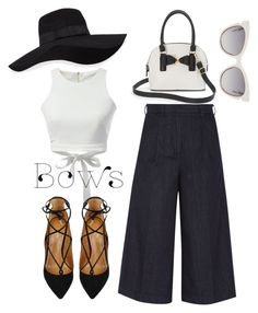 """""""Bows"""" by rhodesfashion on Polyvore featuring Iris & Ink, WithChic, Aquazzura, Apt. 9, Fendi and San Diego Hat Co."""