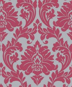 Majestic (30-418) - Superfresco Easy Wallpapers - A traditional, classic simple two colour damask design enhanced with the use of metallic inks. Available in range of colours - shown here in the hot pink on silver grey. Please ask for sample for true colour match.