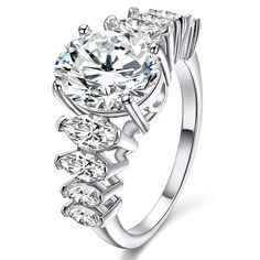 Jiangyue Women Exquisite Halo Rings AAA Cubic Zirconia Rhodium Plated Evening Party Cocktail Jewelry Mother 's Day Gift Size *** Check out the image by visiting the link. (This is an affiliate link) Engagement Jewelry, Wedding Jewelry, Wedding Rings, Fashion Jewelry, Women Jewelry, Michael Kors Jewelry, White Gold Rings, Silver Ring, Statement Rings