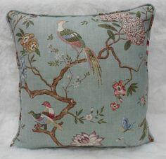 GP J Baker Fabric Oriental Bird Cushion Cover Eau de Nil Linen Chinoiserie | eBay