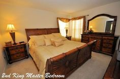 Beautiful master bedroom in a Homes4uu vacation home in Orlando, FL.