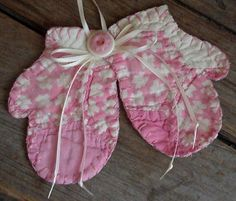 Pretty Pink Baby Girl Christmas Mitten Quilted Ornament/Vintage Cutter Quilt Embellishment