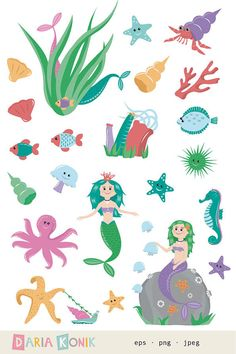Cute Mermaid Clip Art | Mermaid Clip Art Set mermaids jellyfish octopus sea by dariakonik