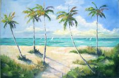 Painting, large seascape - sailboats, palm trees, beach and ocean. original oil. Beautiful sunny windy day. 24x36 oil on canvas. on Etsy, $375.00