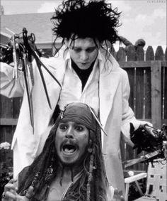 Captain Jack Sparrow and Edward Scissorhands. Captain Jack Sparrow, Johnny Depp Frases, Jack Sparrow Quotes, Jonny Deep, Tim Burton Films, Johnny Depp Movies, Pirates Of The Caribbean, Barber Shop, Actors & Actresses