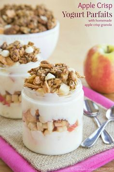 Parfaits with Homemade Apple Crisp Granola - a wholesome breakfast ...
