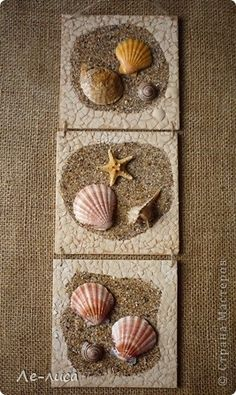 Arena y conchas. This might be suitable for an outside feature in the garden or by the pond. Sea Glass Crafts, Sea Crafts, Crafts To Do, Arts And Crafts, Seashell Art, Seashell Crafts, Seashell Projects, Pebble Art, Sea Shells