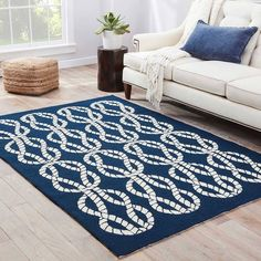Catamaran Indoor/ Outdoor Abstract Navy/ White Area Rug X - (Navy/White - Blue, Juniper Home - Outdoor Flooring, Indoor Outdoor Area Rugs, Outdoor Living, Carpets For Kids, Navy Rug, Large Area Rugs, Living Room Carpet, Coastal Style, White Area Rug