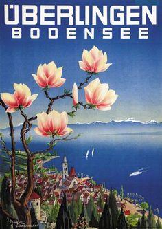 Überlingen. Bodensee. Dinkel. 1950 vintage travel poster