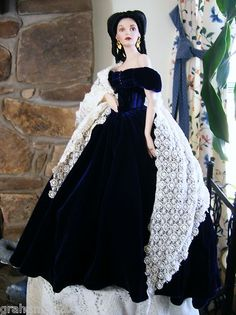 This is in my spare bedroom  Gone With the Wind SCARLETT'S PORTRAIT DOLL IN BLUE VELVET~By Franklin Mint/1998