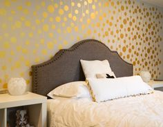 Golden Stenciled Wall | Pharaoh's Gold Metallic Paint by Modern Masters and Royal Design Studio Uzma Circles Stencil | Project by Albion Gould