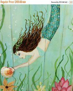 ON SALE Mermaid Art Beach Painting Mermaid by MidorisMyMuse