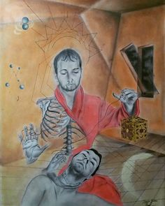 """Sanctuary by Ivaylo Mitev - The idea is that the only person you can rely to is yourself. The skeleton represent the weakness while the blood strings are the connection between the material and non material. One of them also goes to the heart. The box (reference to """"Hellraiser"""") represents the demons who lives inside the body and makes us weak. Also both figures are the same person - me. Drawings, Loneliness, Demons, Painting, Skeleton, Connection, Blood, Space, Heart"""