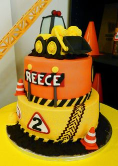 Reece's 2nd Birthday Digger Party Dessert Table by www.sweetestpear.co.uk Doha, Qatar. Cake by Nuku's Cakes & Cookies