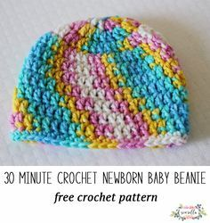 Crochet this easy 30 minute newborn baby beanie hat for hospital donations or new baby shower gifts! Free crochet pattern with video tutorial