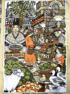 Vintage Tea Towel 19th Century WELSH MARKET by lostnfounddrygoods, $16.00