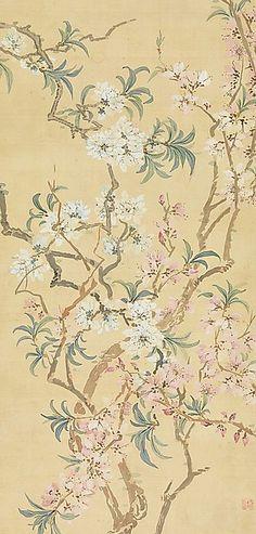 Tsubaki Chinzan. Red and White Peach Blossoms, detail. 19th century.