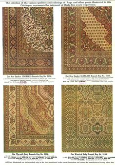Examples of Brussels' Rugs from a Hilger Bros. Furnishing catalog (1910).