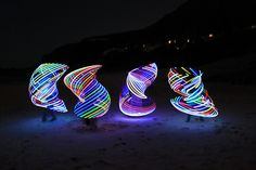 LED Hula Hoops!  4 hoops from 3 different suppliers.  The first and last are from moodhoops, the second is from myhoopmaker, and the third is trickconcepts.