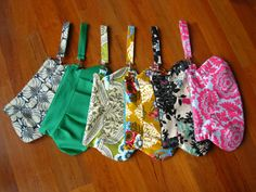 Green Black Yellow Pink Gray Spring Summer Wristlet by EGGcessory, $58.00