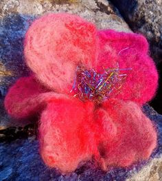 Unique flower brooch or pin hair. Hand made felted with merino and recycling ribbons Perfect gift. Unique Flowers, Flower Brooch, Xmas Gifts, Gifts For Friends, Hair Pins, Free Delivery, Ireland, Felt, Handmade