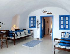 Santorini, Greece at Esperas House, a traditional cave house. This was our room on our honeymoon! Hotels In Oia Santorini, Oia Santorini Greece, Greek Design, Inspired Homes, Traditional House, Architecture Details, My Dream Home, Bedroom Decor, Bedroom Ideas