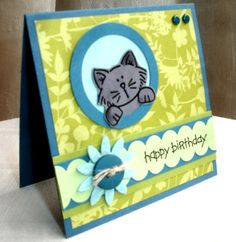 Cat's Bday Card by Qbee - Cards and Paper Crafts at Splitcoaststampers