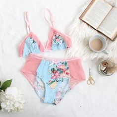 Tropical Floral Lingerie Set in Blue with Sheer Pink Mesh