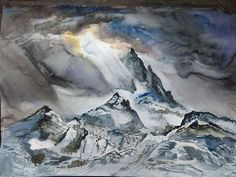 Inspired by the great #Himalayas and possibly the heavens above.  Breathtaking. #winterartsfestival  #watercolor #watercolour #painting #art #fineart  # # #kunst #instaart #искусство #Nepal #미술 #藝術 #美術 #artistsofinstagram #instafun #artisbeauty #artiseverywhere #artchisel  About the Artist: Asad is an aircraft engineer by day and artitst by night... @iasadkarim  Get new art in your feed daily. Follow @artchisel. Artists to get featured follow us and simply message us!