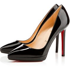 Christian Louboutin Pigalle Plato featuring polyvore, fashion, shoes, pumps, heels, christian louboutin, louboutins, black, platform shoes, red sole pumps, black patent leather shoes, black pumps and platform pumps