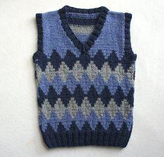 Children hand knitted wool vest, Knitted Toddler Vest, Boy blue grey vest, Tank top for boy Girls Knitted Dress, Girls Sweater Dress, Girls Sweaters, Baby Sweaters, Toddler Dress Patterns, Toddler Girl Dresses, Baby Knitting Patterns, Hand Knitting, Toddler Vest