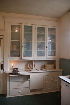 Original 1909 kitchen built-in china cabinet.