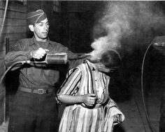 Spraying peoples heads with DDT to kill lice! DDT is a powerful pesticide that was once thought harmless unless ingested. It was sprayed onto clothing, bedding, people and sometimes entire cities...