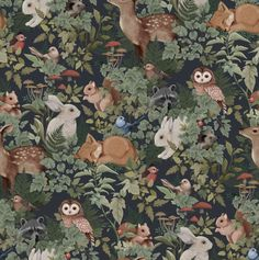 makkari DESCRIPTION Whimsical and charming describe the myriad of animals in this Fleur Harris collaborative wallpaper. Digitally hand painted Woodlands is a unique work of art featuring bunn Tier Wallpaper, Animal Wallpaper, Dark Wallpaper, Kids Room Wallpaper, Wallpaper Childrens Room, Children Wallpaper, Forest Wallpaper, Swan Wallpaper, Baby Nursery Wallpaper
