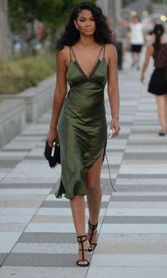 Chanel Iman Smoulders In Khaki Silk