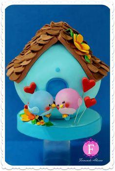 Cute lovebirds cake