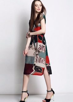 Hit Color Print Light Soft Comfort Chiffon Casual Dress