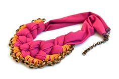 Colorful Statement Necklace, Fabric Bib Necklace, Dark Pink and Honey Golden  with Oxidised Chain