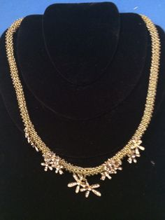 Golden Beaded Necklace - raw stitched, floral - original design, hand crafted on Etsy, $59.99