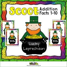 Scoot Math Game Addition 1-10: Lucky Leprechaun:This St. Patrick's Day Math Scoot is a fun and exciting math game that gets all of your students moving. It can be used as a preview to see what your students already know, as a review or as an assessment after teaching addition facts to 10.This is a fun game to play for St.Patrick's Day