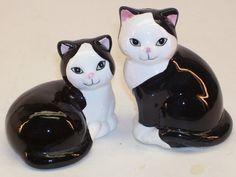 Vintage Ceramic Black and White Cat Figurine by GarageSaleGlass, $15.99