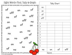 Sight Word Math with Look Alike Words - graphs, patterns, coin counting