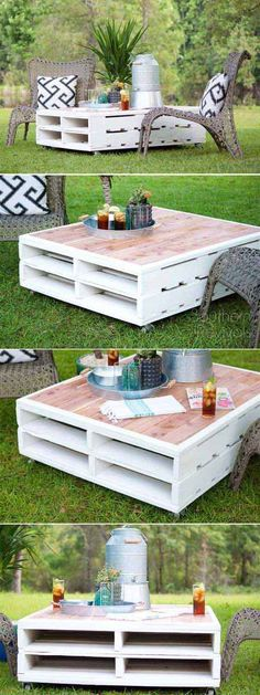 DIY Pallet Coffee Table Gets an Outdoor Makeover with exterior paint and cedar planking
