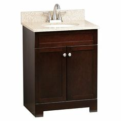 ESTATE by RSI CG18824 Broadway 25-in x 19-in Espresso Single Sink Bathroom Vanity with Granite Top