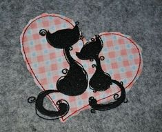Cats in love free machine embroidery design. Machine embroidery design. www.embroideres.com
