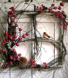 Rustic Christmas window wreath with berries and bird. (old windows from rental house) Noel Christmas, Rustic Christmas, Christmas Projects, Winter Christmas, Holiday Crafts, Christmas Ornaments, Outdoor Christmas, Natural Christmas Decorations, Christmas Images