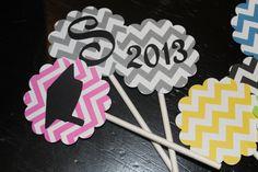 Chevron Stripe Cupcake topper for any occasion graduation, birthday, shower, wedding