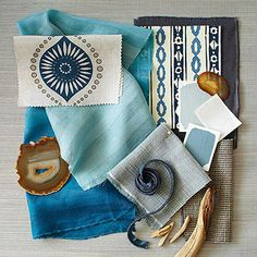 Color Palettes. Blend of blues. Shades of blue and gray unite to form a soothing palette that is livable and relaxed.