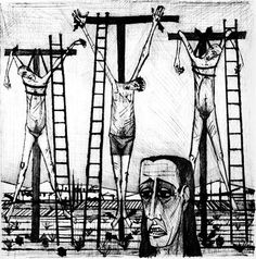 Bernard BUFFET ( 1928 - 1999 ) | Illustration de LA PASSION DU CHRIST - 1954