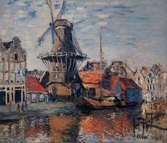 Claude Monet - The Windmill on the Onbekende Canal, Amsterdam - #art